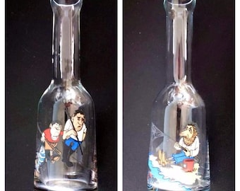 SALE ! Vintage Set of two bottles - pavuri, pistol alcohol glass, FISHING APPLICATION, fisherman, gift for him