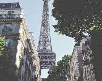 Paris Photography, Eiffel Tower, Paris Street, French Wall Art, White, Architecture, Paris Print