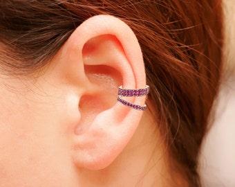 Ruby Ear Cuff Set OR Single Ruby Ear Cuff, Sterling Silver Ear Cuff, Gold Ear Cuff, Non Pierced Ear Cuff, Ear Wrap, Cartilage Cuff