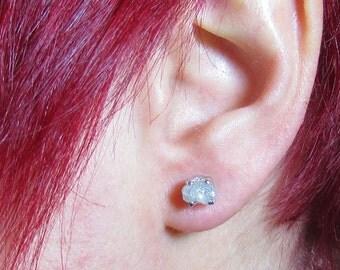 2+ Carats Raw Diamond Earrings - Rough Diamond Earrings - Uncut Diamond Earrings - April Birthstone - Real Diamonds - Gold Earrings