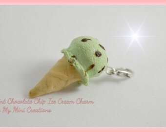 Mint Chocolate Chip Ice Cream , Miniature Food, Food Jewelry, Miniature Food Jewelry