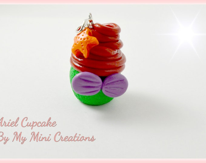 Disney Inspired Ariel Cupcake Charm , Miniature food jewelry,  Miniature food,