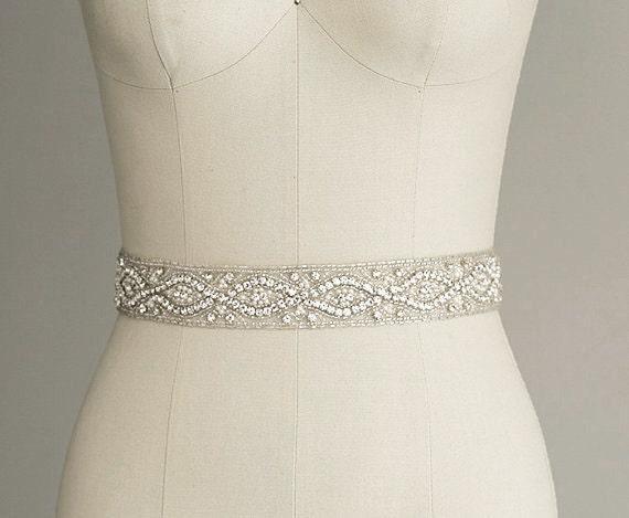 Gardenia Silver Crystal Rhinestone Diamante Belt Sash Bridal