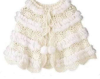 Magnifique chauffe épaules capeline pèlerine blanc/ crocheté /sur commande