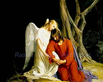 "Carl Bloch ""Angel Comforting Jesus Before His Arrest in the Garden of Gethesemane"" 1870 Reproduction Digital Print Christianity Religion"