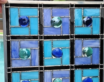 Circles and Squares Stained Glass Panel