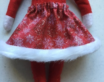 Christmas Shelf Clothes Red Skirt with Silver Glitter Snowflakes and Fur Trim for Girl Elf or Pixie