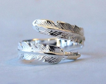 Sterling Silver Ring, Silver Feather Ring, Silver Wrap Ring, Silver Adjustable Ring, Silver Ring