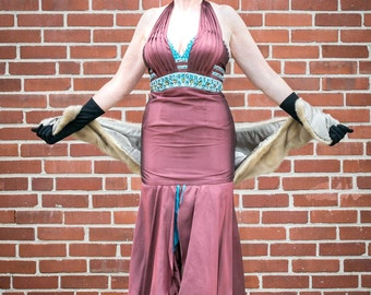 vintage 1990 bronze halter gown in with aqua beaded trim. Fishtail hem FREE SHIPPING from RCMooreVintage