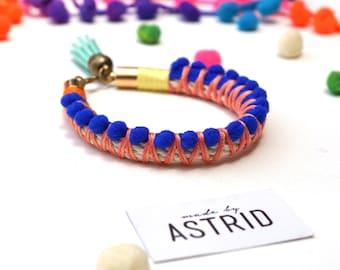 QUEENIE // Pom pom Bracelet, Royal Blue Pom pom Bracelet, Rope Bracelet, Blue Bracelet, Gift For Her, Boho Jewellery
