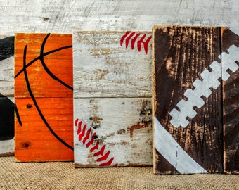 Rustic Sports pallet sign, sports sign, sports art, football art, basketball art, baseball art, soccer art, kids art, man cave art
