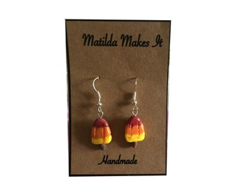 Handmade Polymer Clay Rocket Lolly Drop Earrings