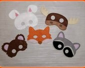 Woodland Animal Masks Set of 5  Moose Fox Bear Raccoon Rabbit Fancy Dress Up Pretend Play  Celebration Birthday Party Gift Theme