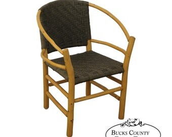 old hickory hoop arm chair in woven leather