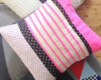 Neon stripes cushion