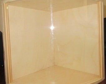 Corner dollhouse roombox miniature display box diorama unfinished assembled  wood home decor shelf New