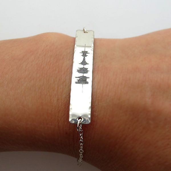 soundwave jewelry sound wave bracelet custom sterling silver engraved bracelet 597