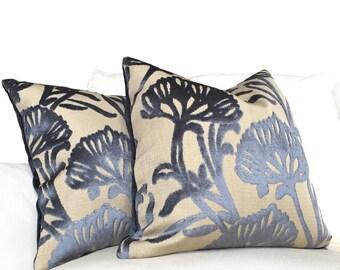 "Slate Blue Floral Cut Velvet Decorative Throw Pillow Cushion Zipper Cover, Fits 20"" 22"" 24"" 26"" Inserts"