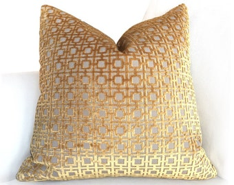 "Designer Amber Gold Geometric Square Lattice Cut Velvet Pillow Cover, Fits Lumbar 16"" 18"" 20"" 22"" 24""26""Inserts"
