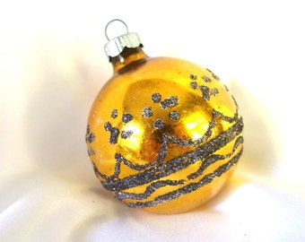 Vintage Christmas Ornament, Gold and Black Shiny Brite Ornament