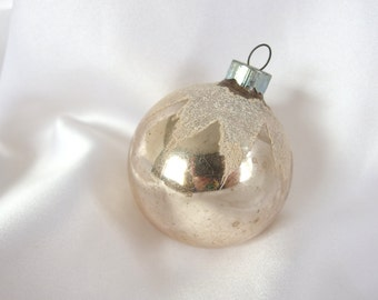 Vintage Christmas Ornament Silver with White Snowcap Ornament
