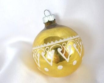 Vintage Shiny Brite Christmas Ornament, Gold Stenciled Heart Ornament