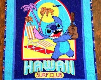 """Disneys Lilo and Stitch* 36""""Wx45""""L Quilt coordinating backing reversible blanket baby crib bedding toddler napping blanket *Perfect Gift"""
