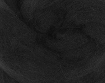 Merino silk roving, Darkness, 100 grams/3.5 oz