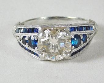 Vintage Custom Made Platinum Engagement Ring