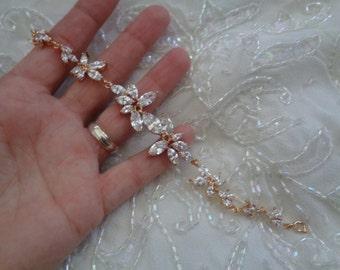 Beautiful sparkling marquise cut cz bridal wedding occasion bracelet gold rhinestone crystals leaves flower 17cm cubic zirconia