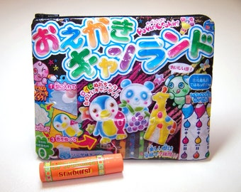 Upcycled / Recycled Japanese Candy Wrapper Zipper Pouch, Kawaii Pouch, Kawaii Bag