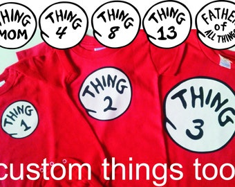 Dr Seuss THING 1 one THING 2 two THING 3 three etc. Infant Toddler & Youth T Shirt 100% cotton Red