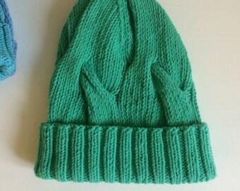 Green spring knit kids hat