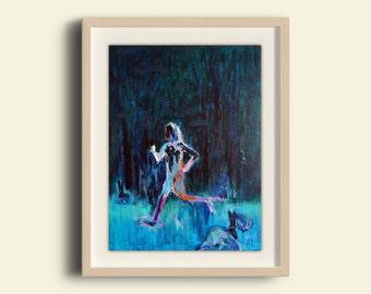 Running Art, Running Painting, Original Art, Gift for Runner, Art Gift, Fitness Art, Night, Small Art, Dream, Runner, Fitness Inspiration