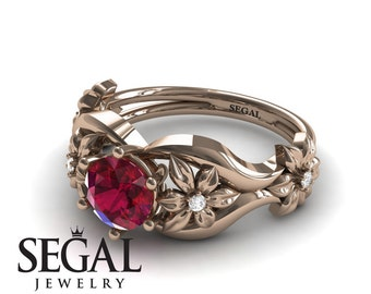 Twig Engagement Ring Rose Gold Red Ruby Ring Floral Ring Nature Inspired Bridal Ring Alternative Ring Twig Engagement Ring - Lauren