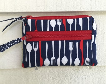 4th of July Wallet, Small Zipper Wallet, Zipper Coin Purse, Womens Change Purse, Small Zipper Pouch, Red White Blue Wallet, Zipper Wallet,