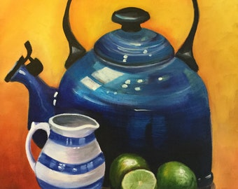 Le Creuset kettle and limes, original art, oil painting by Carole Ann Hall