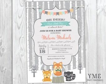 Winter Woodland Baby Shower Invitation - Winter Baby Shower Invite - Forest Animals - Fox, Deer, Raccoon - Oh Deer