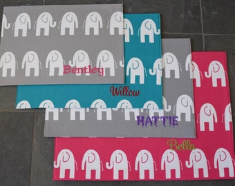Puppy Bowl Mat || Personalized Gift || Stylish Elephants || Grey Dog Placemat || Lilly Inspired || Feeding Station || Three Spoiled Dogs