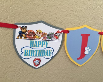 Paw Patrol banner, Paw Patrol birthday, Paw Patrol party, name banner, Paw Patrol ALL-IN-1 banner