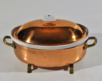 White Ceramic Crock Pot Chafing Set Copper Serving Dish/Thanksgiving / Holidays serving dish diner/ farmhouse/Retro Casserole Dish