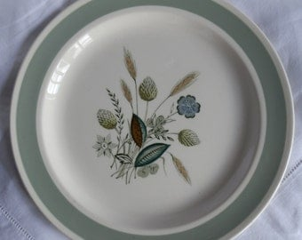 Vintage 1960's Wood & Sons Dinner Plate Clovelly Pattern, Wheat Harvest, Made in England