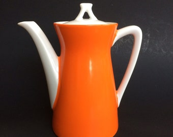 Vintage Mid Century Ceramic Japan Orange Coffee Tea Pot Teapot