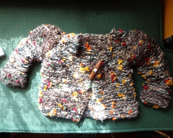 hand knit baby sweater in fall colors