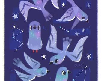 Starry Pigeons - Art Print