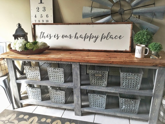 This is our happy place, wooden, sign, quote sign, farmhouse decor, farmhouse, sign