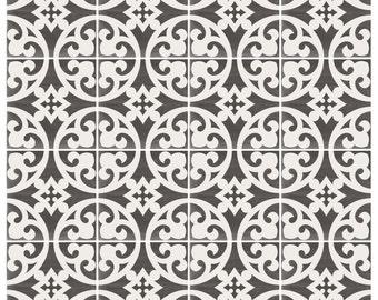 Vinyl Floor Tile Sticker - Floor decals - Carreaux Ciment Encaustic Citadel Tile Sticker Pack in Black