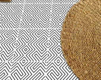 Tile Decals - Tiles for Kitchen/Bathroom Back splash - Floor decals - Encaustic Maze Vinyl Tile Sticker Pack color Black & White