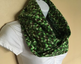 Mine Craft Pixals infinity flannel scarf