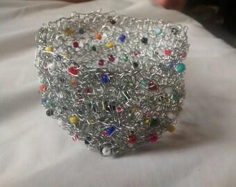 Crocheted wire basket